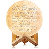 Engraved Moon Lamp Night Light - Brave & Smart Moon Light with Touch Control Brightness - from Mom/Dad to Daughter (A - from Dad)