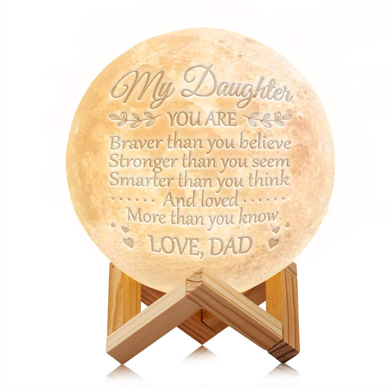 Engraved Moon Lamp Night Light - Brave & Smart Moon Light with Touch Control Brightness - from Mom/Dad to Daughter (B - from Dad)