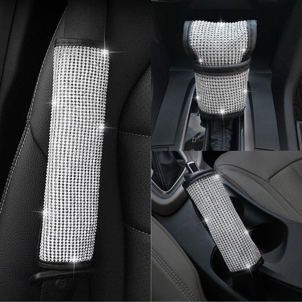 U&M Bling Bling Auto Seat Belt Cover & Handbrake Cover & Shift Gear Cushion Luster Crystal Diamond Car Decor Accessories (3 pcs in 1 Set)