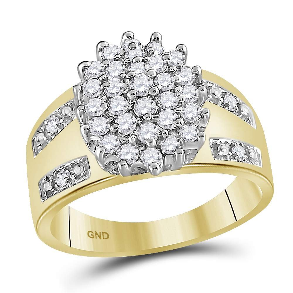 Flower Diamond Cluster Ring Solid 10k Yellow Gold Cocktail Band Fashion Style Round Wide Style 1/2 ctw