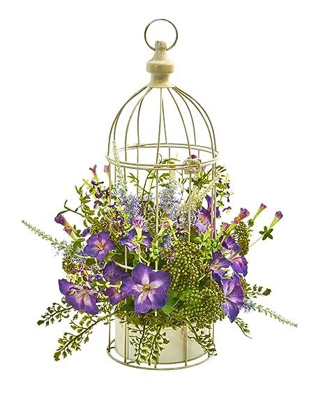Flores de Seda - Arreglo de Gloria de la mañana con Jaula de ...