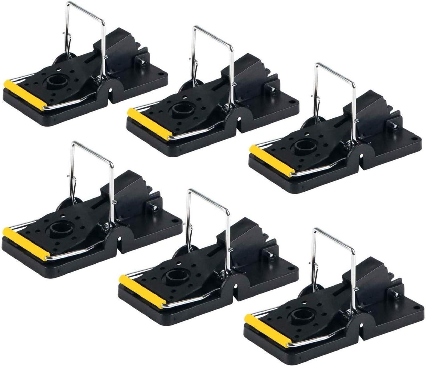 ASPECTEK Trampa para Ratones, Trampas a Presión Reutilizables de Fácil Instalación, Paquete de 6, Interior, Plástico, Negro