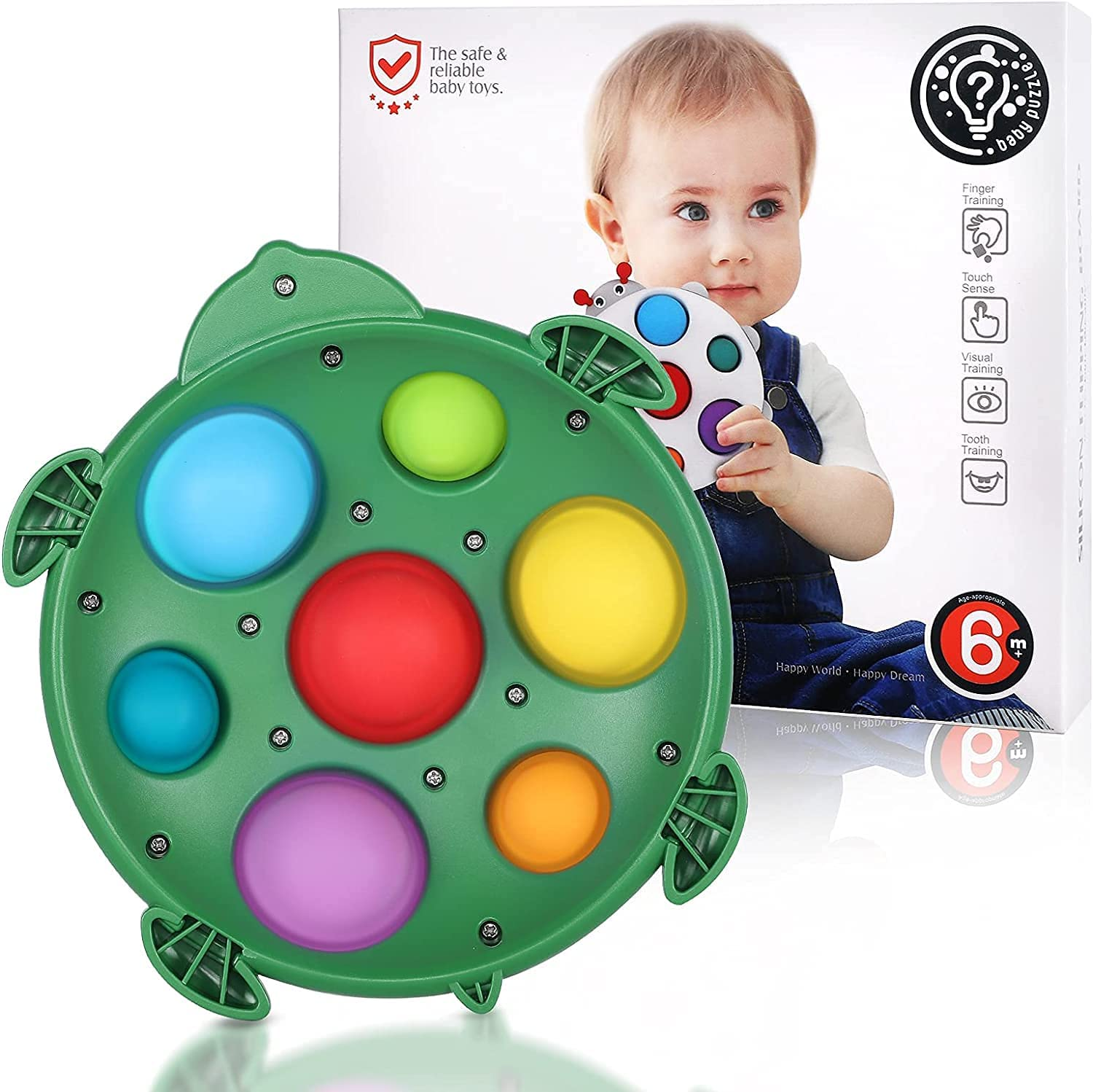 ADHD Fidget Toys Stress Relief Hand Toys Gifts for Adults and Kids Early Educational Toddler Baby Toy Kids Pop Bubble Sensory Toys Silicone Flipping Tortoise Board Baby Simple Dimple Fidget Toy