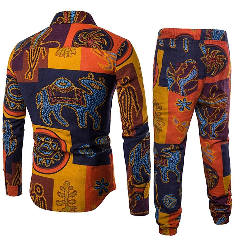 2Pcs Business Slim Long Sleeve Fit Print Blouse Top+Pants Elastic Realdo Mens Ethnic Characteristic Shirt Set