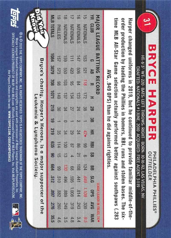 2020 Topps Big League #31 Bryce Harper NM-MT Philadelphia Phillies Baseball