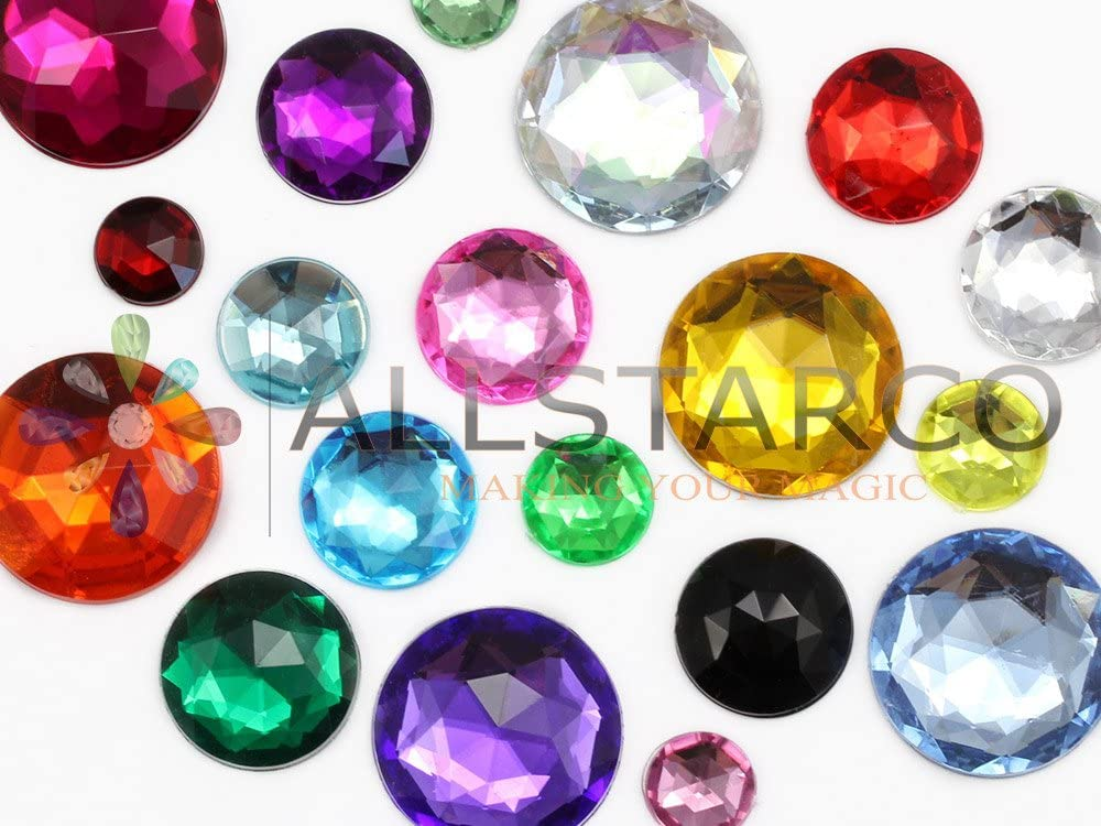 32mm Crystal H102 Flat Back Round Acrylic Jewels Pro Grade Individually Wrapped 6 Pieces