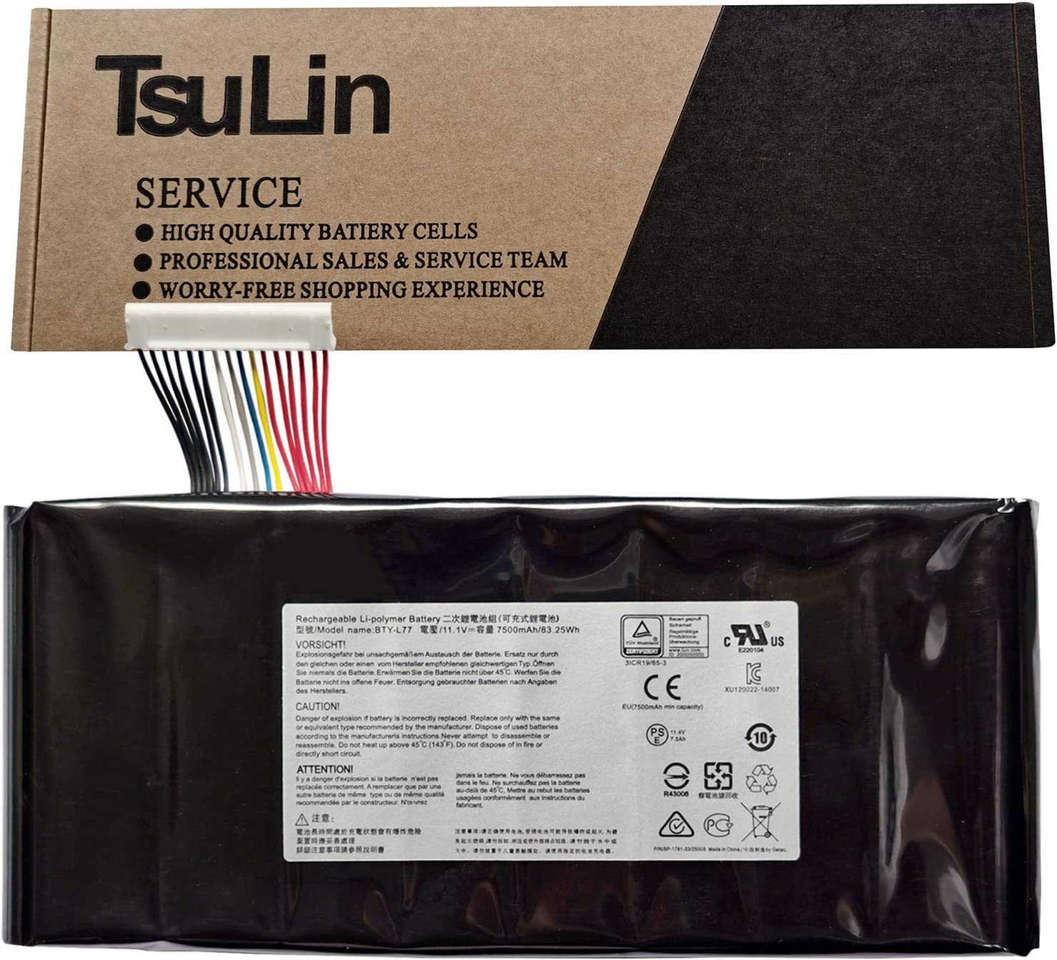 TsuLin BTY-L77 Laptop Battery Compatible with MSI GT72 2QD 2PE-022CN 2QD-1019XCN 2QD-292XCN GT72S 6QF GT80 2QE GT72VR WT72 MS-1781 MS-1783 Series Notebook 11.1V 83.25Wh 7500mAh