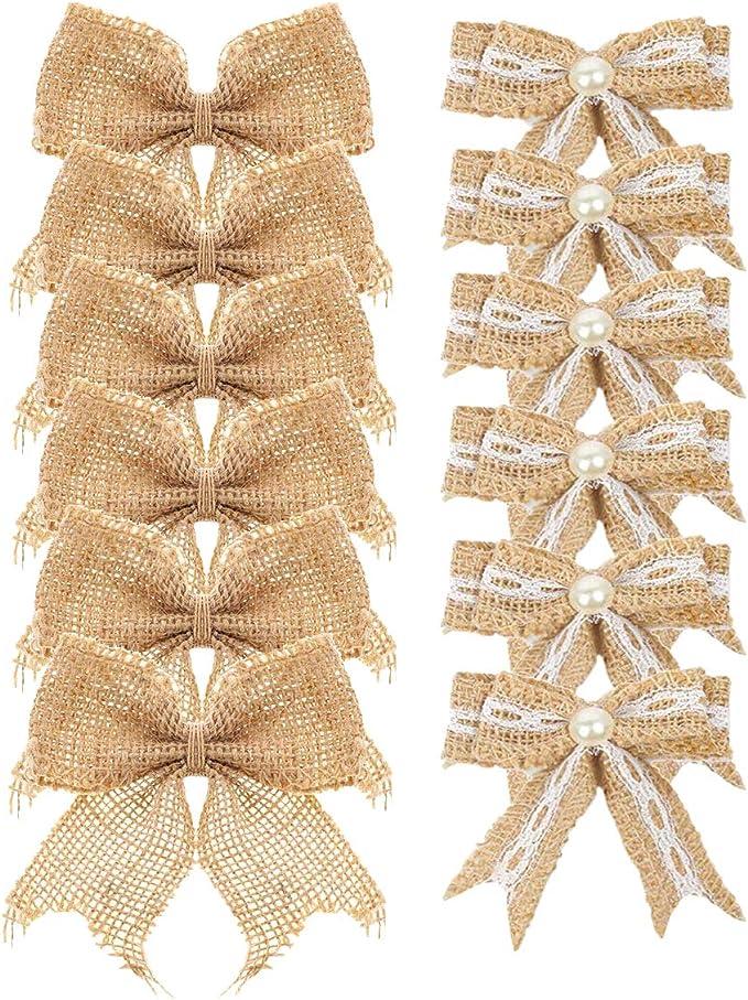 Solid Burlap Christmas Tree Bow Topper Natural Christmas Wedding Decor