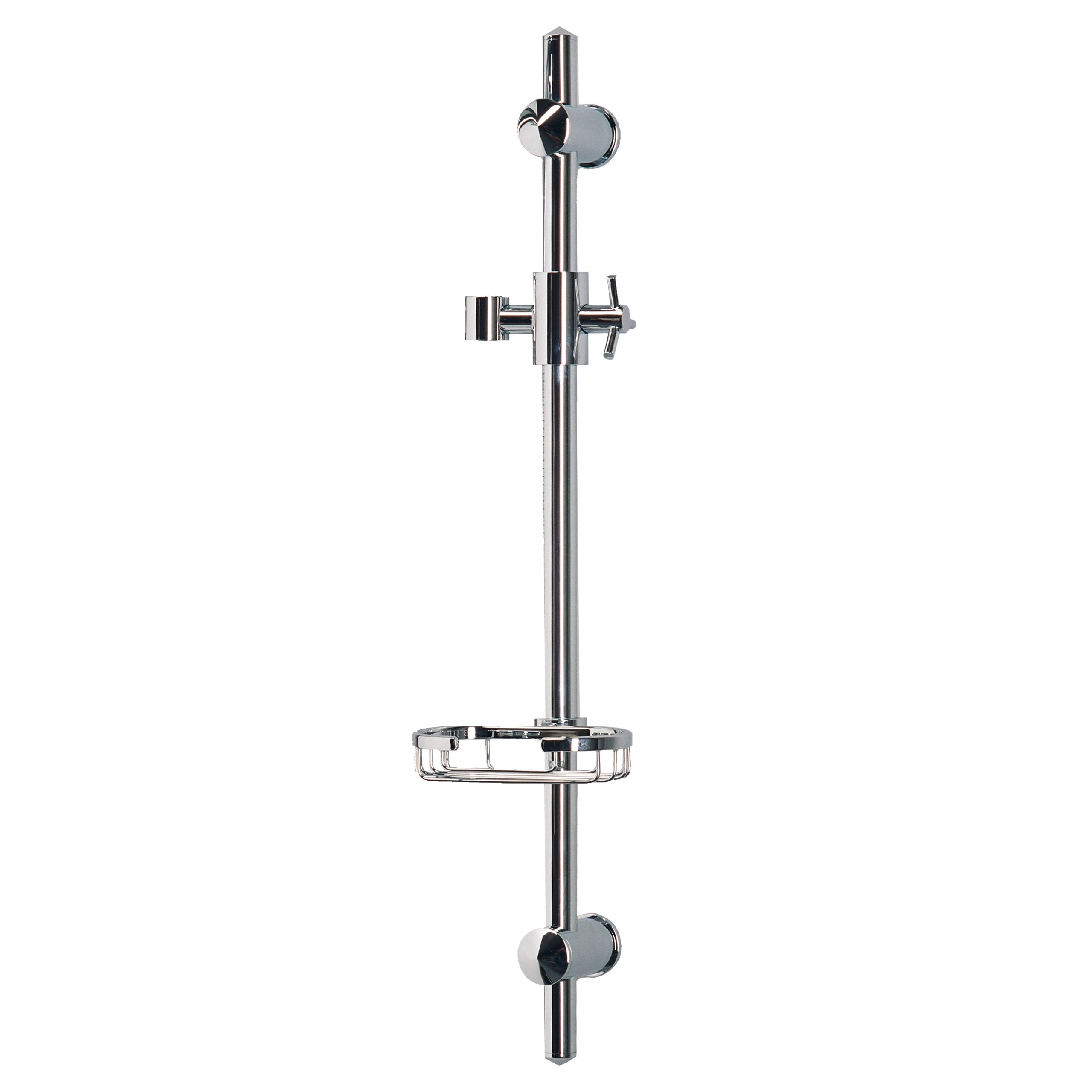 PULSE ShowerSpas 1010-CH Adjustable Slide Bar for Hand Shower with Wire Basket Soap Dish, Polished Chrome