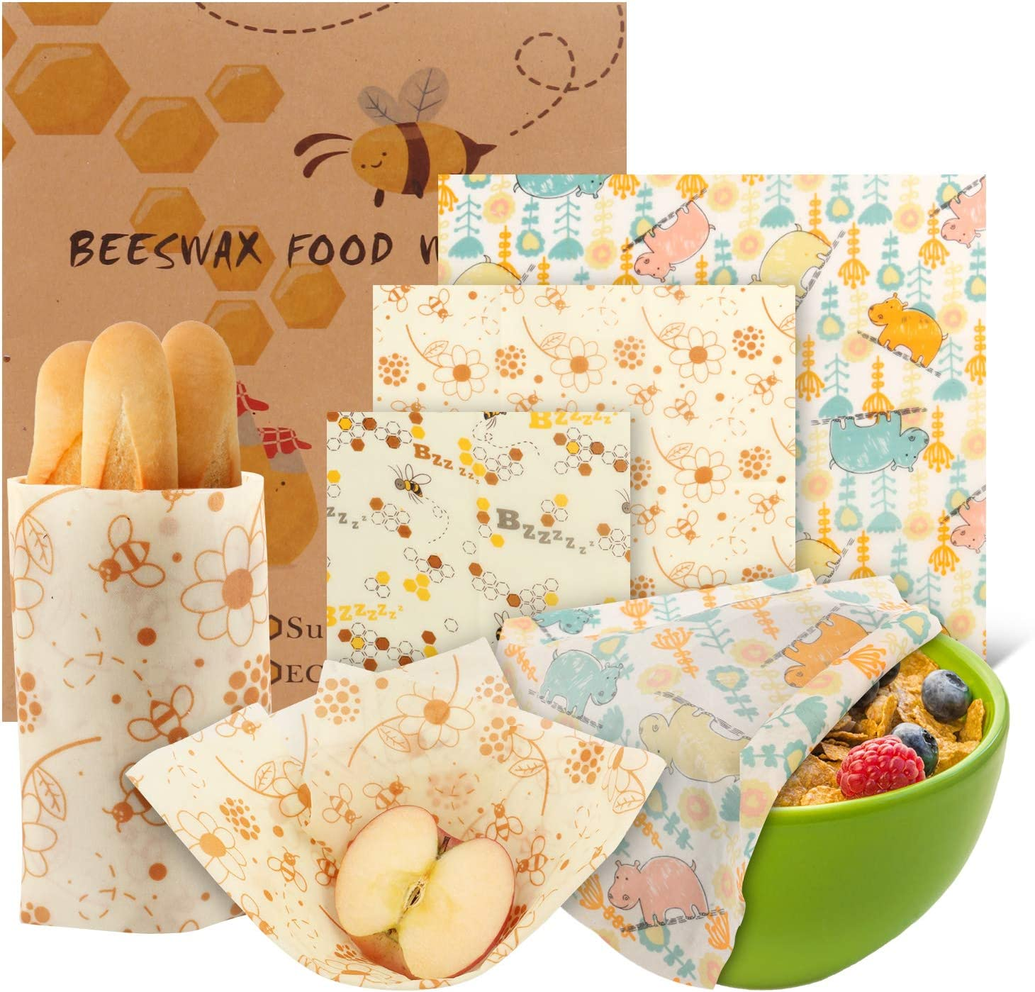 Beeswax reusable food wraps Pack of 6, Zero Waste, Eco Friendly, Plastic Free, Sustainable, Food Storage, Washable Bees Wax Food Storage Wrappers Cling Sandwich, Fresh Design Beeswax Wrapping.