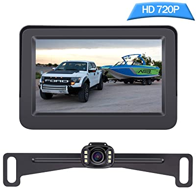 DoHonest Backup Camera and Monitor Kit HD 720P Easy Installation for Car/Suv/Pickup/Truck/Van/RV/Trailer Single Power Rear View System Driving/Reversing Use IP68 Waterproof Night Vision : Camera & Photo