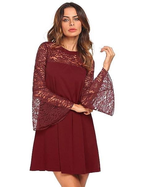 Amazon.com: Vestido de encaje para mujer, de manga larga ...