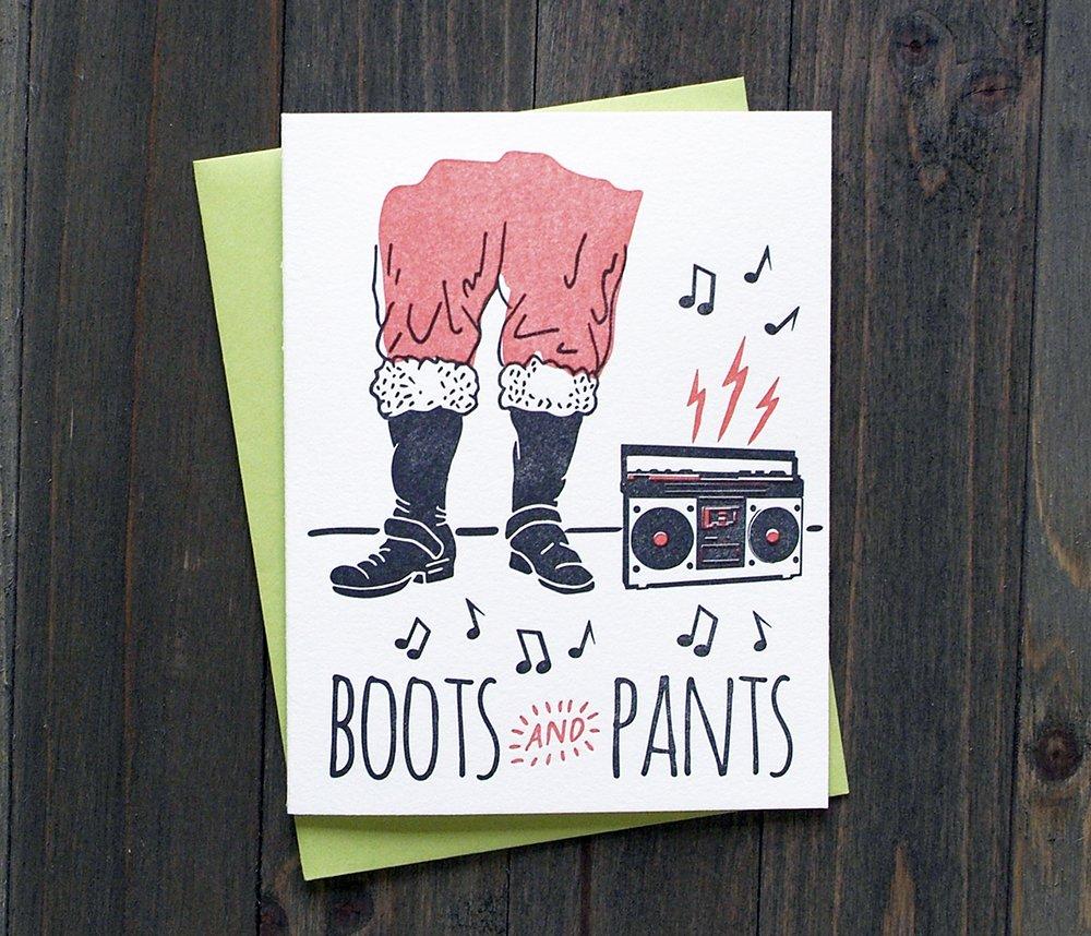 Letterpress Holiday Christmas Card Boots and Pants Santa