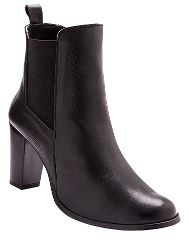 79bb69951153a2 Balsamik - Boots Cuir à Haut Talon, Largeur Confort - Femme - Taille : 40