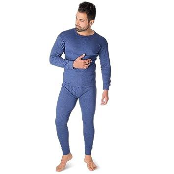 Hombre Térmica Camiseta + Unterhose con forro polar Esquí Escobillero – Ropa interior deportiva, azul