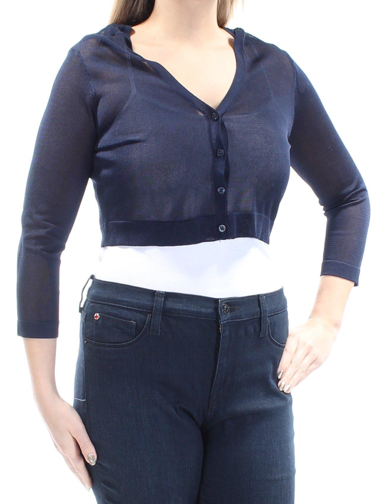 Lauren Ralph Lauren Womens Petites Sheer Long Sleeves Cardigan Top Navy PM