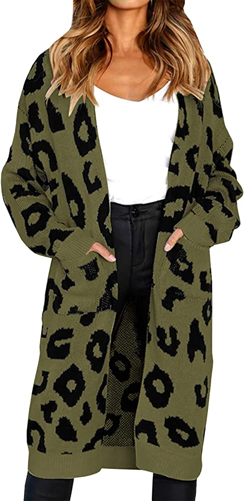 UK Women Long Sleeve Open Front Leopard Thin Cardigans Long Loose Pullover Size