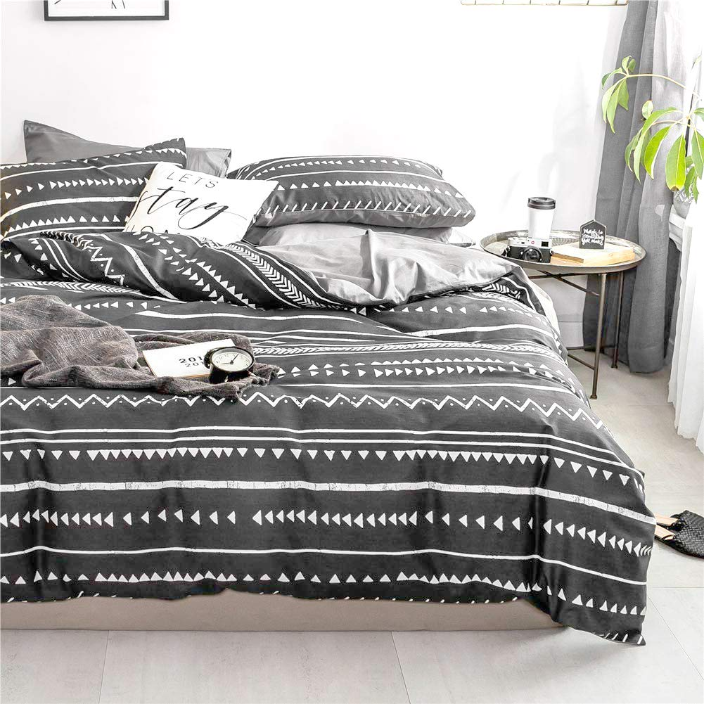 Bohemian Queen Bedding Duvet Cover Set - White Striped Ethnic Boho in Black 100% Natural Cotton with 3 Pieces Ultra Soft Breathable Comforter Cover, Extremely Durable and Fade Resistant