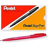 Pentel Sign Pen Fiber-Tipped Pen, Red Ink, Box of 12 (S520-B)