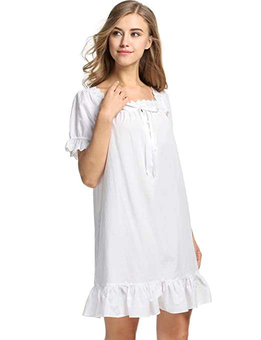 Victorian Nightgowns, Nightdress, Pajamas, Robes Sholdnut Womens Short Sleeve Nightgown Vintage Victorian Sleepwear Ruffle Short Sleep Dress $29.99 AT vintagedancer.com
