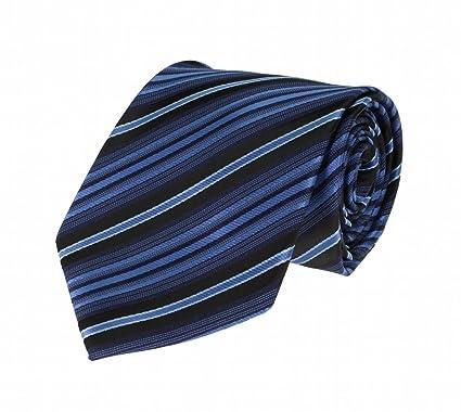 Para hombre corbata azul de rayas negro y blanco con patrón ...