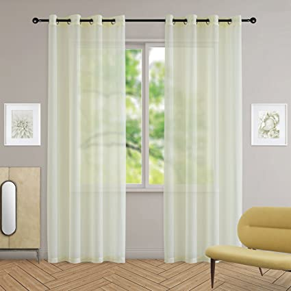 Yakamok Pale Yellow Sheer Curtains Voile 2 Panels Drapes With Grommet Top