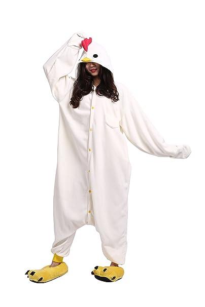 YUWELL Unisex Pijamas para Adultos Cosplay Animales de Vestuario Ropa de Dormir Halloween Navidad, Gallo