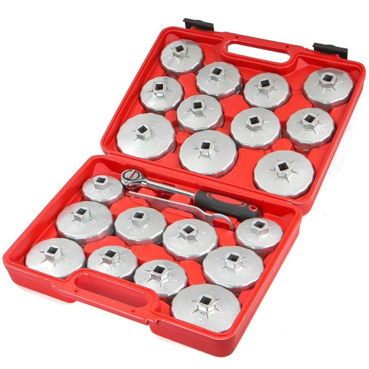 23pc Aluminum Alloy Cup Type Oil Filter Cap Wrench Socket Removal Set 1/2''Dr. by best_sales_for_you (Image #2)