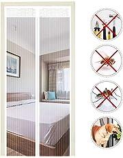 EXTSUD Moustiquaire de Porte Magnétique Fermeture Automatique Rideau Porte Anti insectes avec Aimants et Bande Adhesive Sans Perçage (100x220 cm, Blanc)