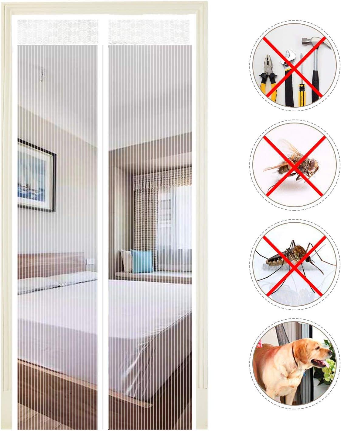 EXTSUD Mosquitera Puertas Cortina Mosquitera Magnética para Puertas Protección contra Insectos para Puerta de Balcón Sala de Estar Puerta de Patio, Blanco (90 x 210cm)