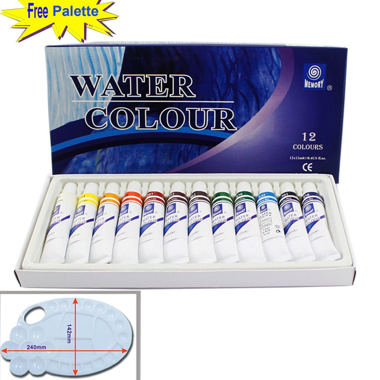 Magicdo 12 Cols professional Watercolor Paint Set With Free Palette, Quality Non Toxic Paint, 12ml Heavy, Rich Pigment, Best Selling Color, Suitable for Kids 3+ to Adults (1212ml)