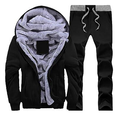 ARTFFEL Mens Hooded Front Zip Fleece Lined Sweatshirt Pant Tracksuit Set