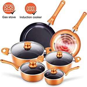 10pcs Cookware Set Non-stick Frying Pans Set Ceramic Coating Soup Pot, Milk Pot, Copper Aluminum Pan with Lid Gas Induction Compatible, 1 Year After sale service