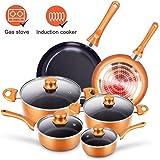 10pcs Cookware Set Non-stick Frying Pans Set Ceramic Coating Soup Pot, Milk Pot, Copper Aluminum Pan with Lid Gas…