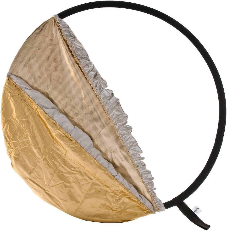 Lastolite LL LR3096  30-Inch 5-In-1 Reflector Diffuser with Gold//White and Sunfire//Silver Bottletop