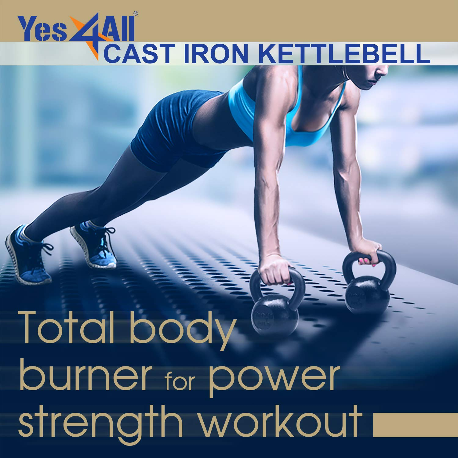 Yes4All Solid Cast Iron Kettlebell Weights Set - Great for Full Body Workout and Strength Training - Kettlebell 35 lbs (Black) by Yes4All (Image #6)