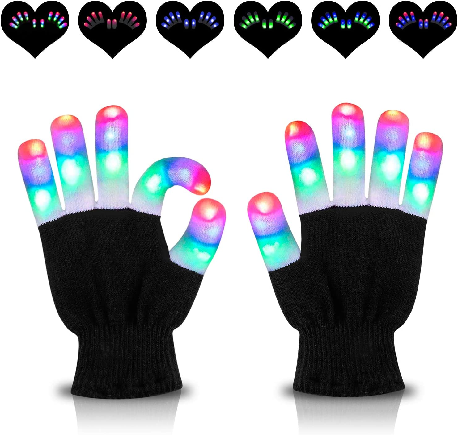 LED Gloves Rave Flashing Glow 6 Mode Light Up Finger Tip Lighting Halloween Xmas