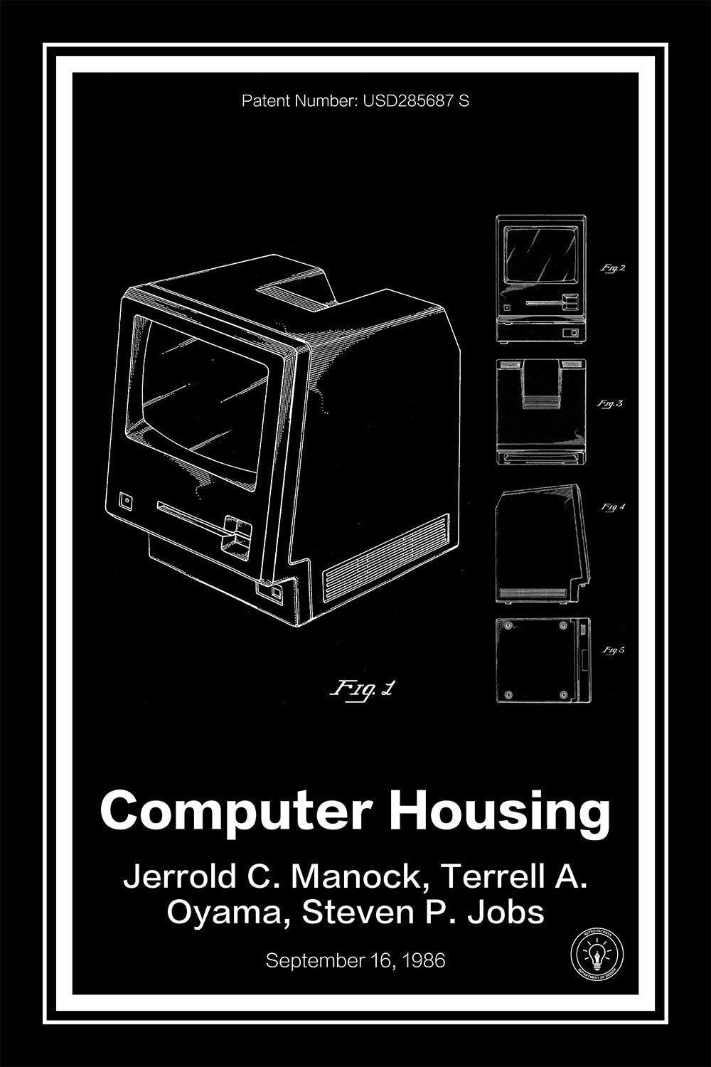 "Apple Mac Computer Patent Print Art Poster - Black 24"" x 36"""
