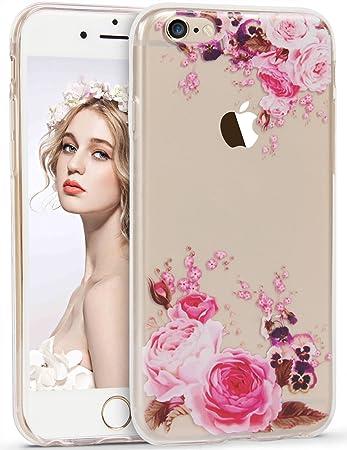 29fdb9d578 Imikoko iPhone6s ケース iPhone6ケース TPU 花柄 薔薇 クリア おしゃれ かわいい 耐衝撃 アイフォン6