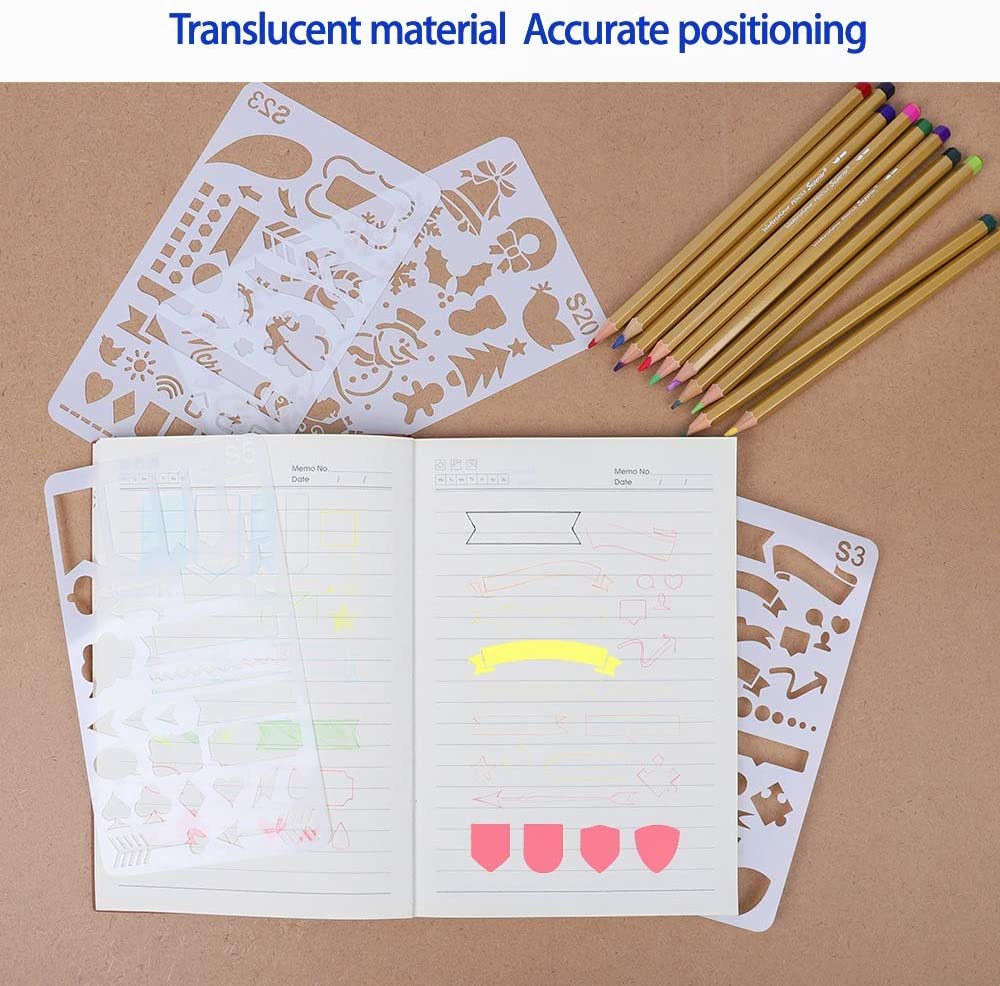 Diary Notebook Plastic Planner Drawing Stencils for DIY Journal UCEC 24 PCS Journal Stencils Painting 4x7 Inch Letter Number Holiday Stencils