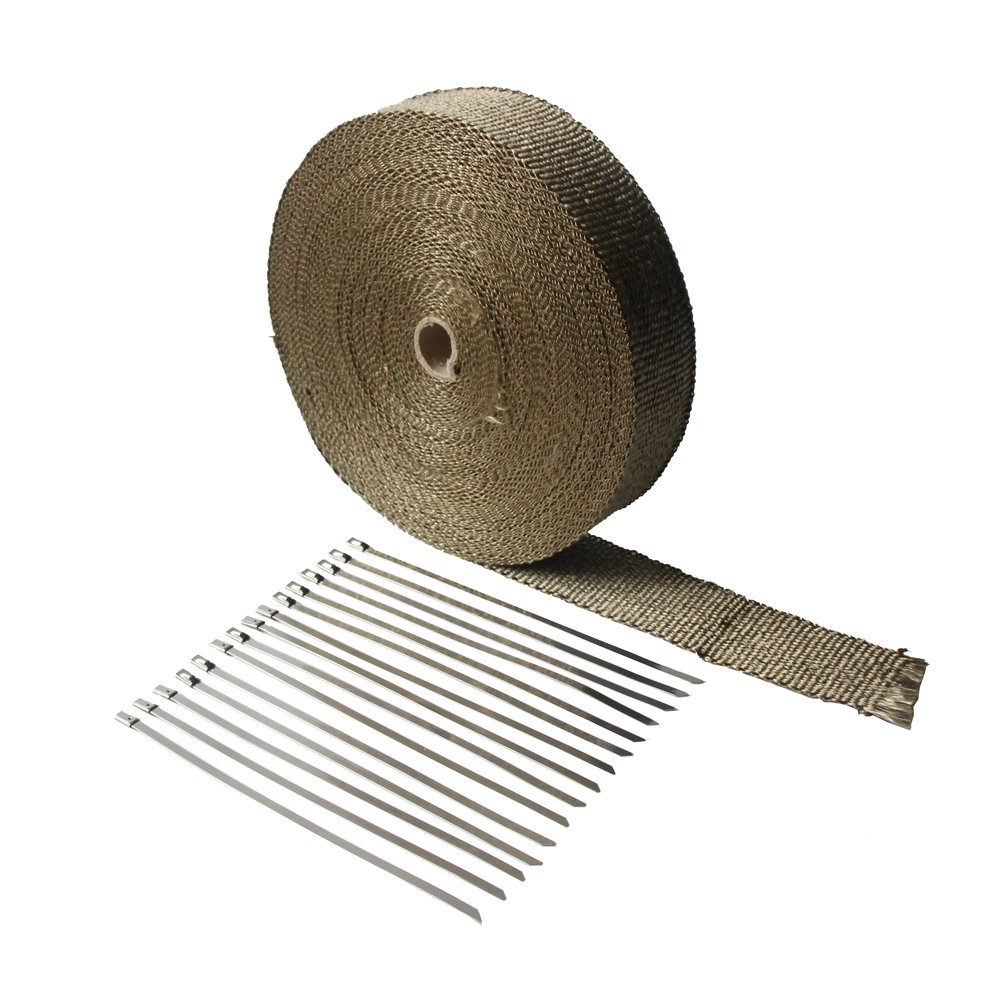 LEDAUT 2''x 100'Titanium Exhaust Heat Wrap For Car & Motorcycle Exhaust Tape With Stainless Ties