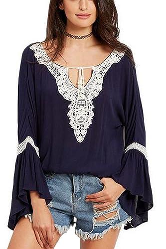 Las Mujeres Con Cuello En V Profundo Lace Patchwork Flare Sleeve T Shirt Blusas Tops