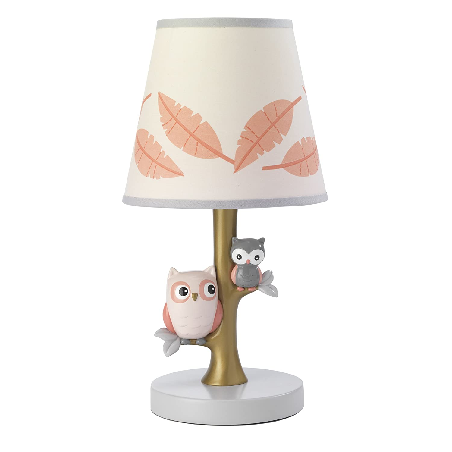 Lambs & Ivy Family Tree Coral/Gray/Gold Owl Lamp with Shade & Bulb 673024B