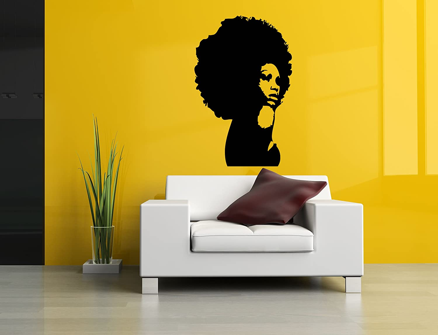 Amazon.com: Wall Room Decor Art Vinyl Sticker Mural Decal Afro Girl ...