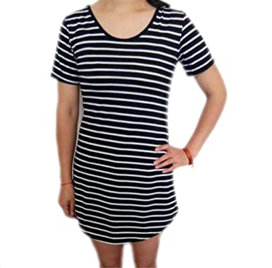 HuoGuo Female Sundress Black White Striped O Neck Mini Dress Woman ...