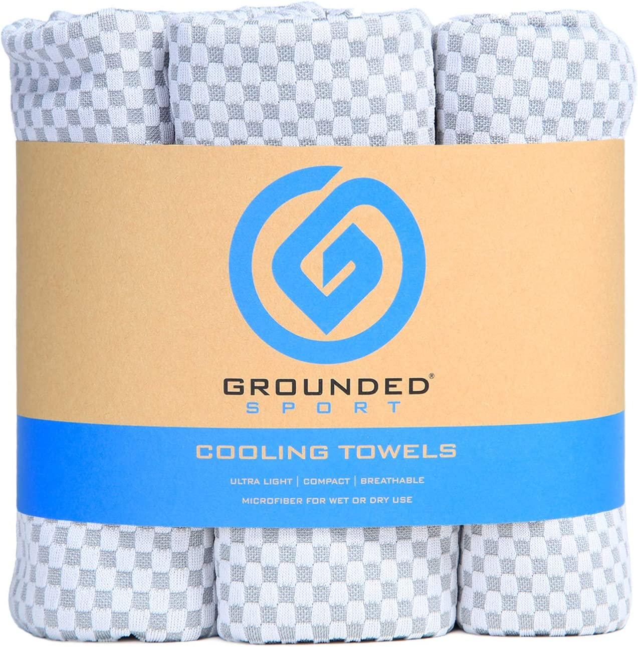 """Grounded Sport Ultra Lightweight Compact (12"""" x 39"""") Cooling Towel 3-Pack Microfiber Sport Towel for Women & Men, Workout, Fitness, Sports, Outdoors, Camping, Gym, Travel or Gifts"""