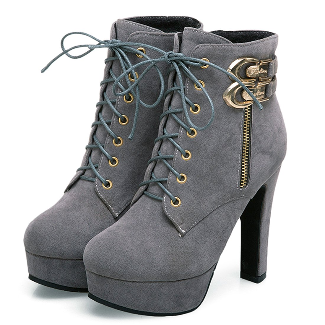 85e3c46ef5 Suede;Rubber sole. Round toe,Platform high heel,Side zipper,Lace up closure  for easy ajustment short booties shoes. Heel measures approximately 4.72