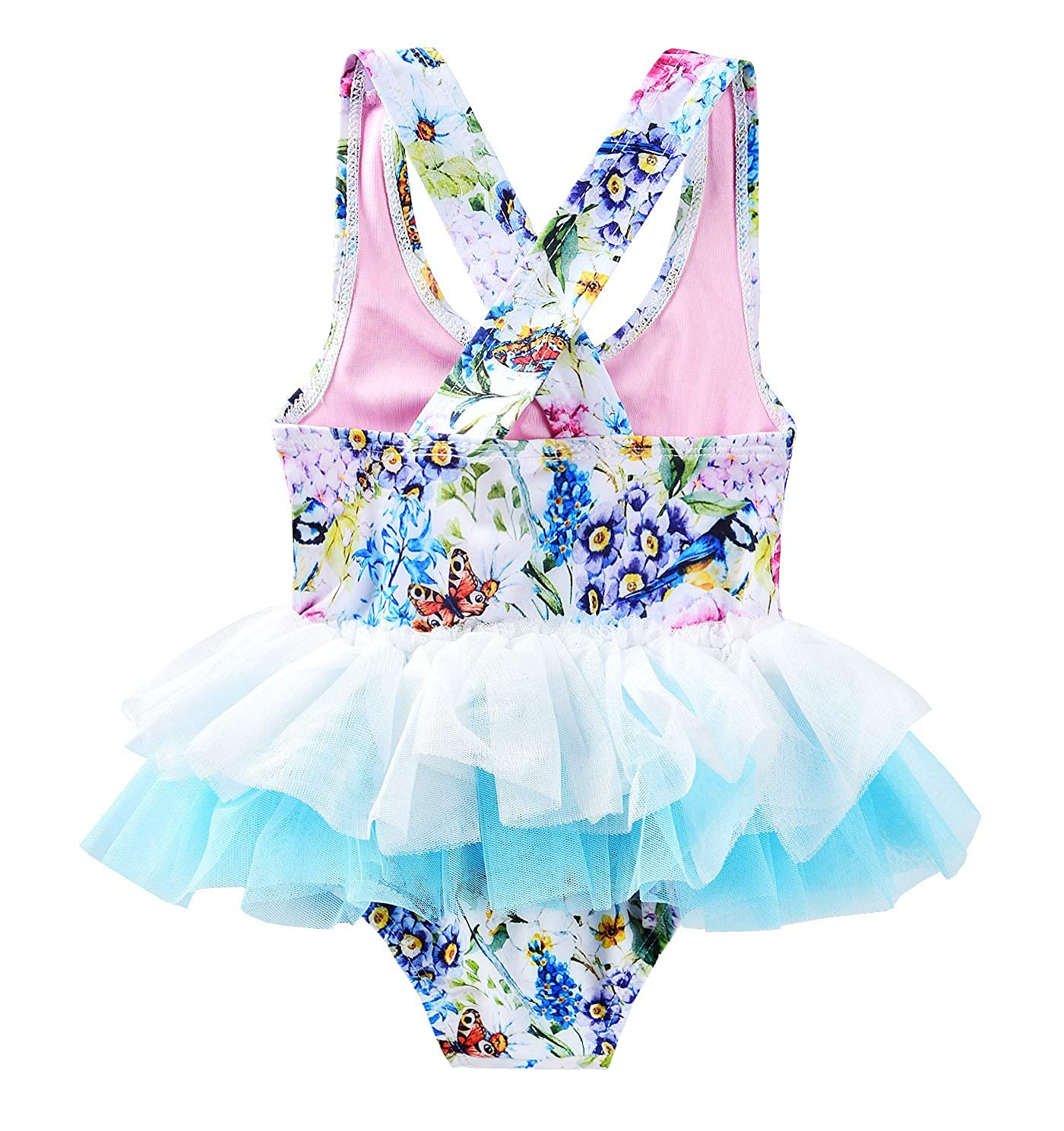 JerrisApparel Girls One-Piece Swimwear Tulle Rompers Bathing Suit with Swimming Cap