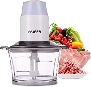 Frifer Electric Meat Grinder Food Processor with 4 Titanium Coating Blades 1.8L Acrylic Glass Kitchen Meat Grinder for Meat, Vegetables, Fruits and Nuts Fast & Slow 2 Speeds, 350W