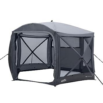 Qeedo Quick Hub 20 Falt-Pavillon (380 x 380 cm), Partyzelt, Event-Shelter & Vorzelt wasserdicht- grau